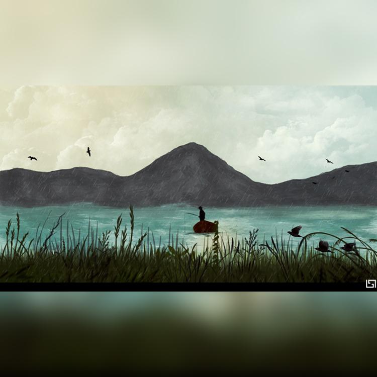dessin digipainting lac