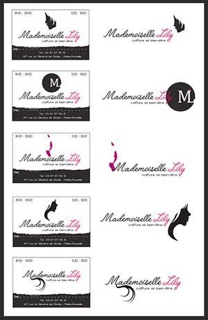 logo et carte de visite salon de coiffure mademoiselle lily