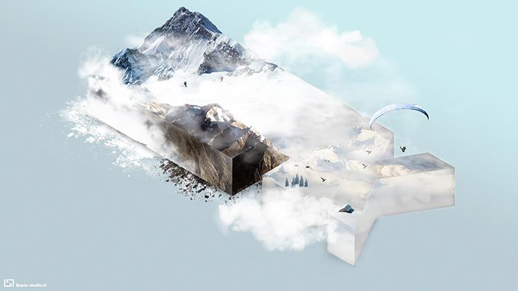 montage photo de montagne